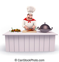 Chef cooking vegetables