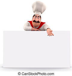 Happy chef pointing towards sign - 3D illustration of Happy...