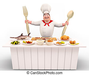 3D illustration of Happy Chef standing with spoons and fork