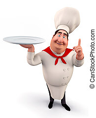 Chef walking with dish - 3D illustration of happy Chef...