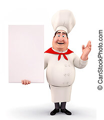 Happy chef with sign