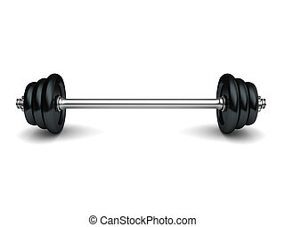 barbell - 3d illustration of heavy barbell over white...