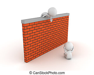 3D illustration of helping a depressed person overcome barriers