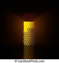 3d Illustration of hexagonal mesh pipe like carbon nanotube