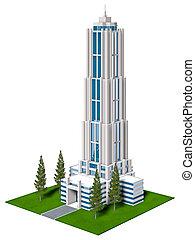 corporate building - 3d illustration of hi-rise corporate...