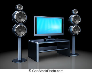 3d illustration of home theater electronics over dark background