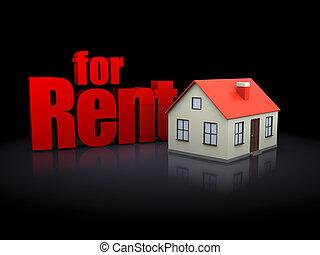 3d illustration of house for rent over black background