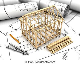 house frame model - 3d illustration of house frame modeling...