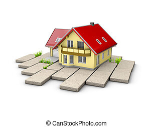 3d Illustration of house on the cobblestone