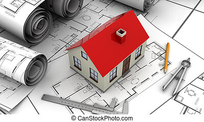 house plan - 3d illustration of house plan and drawing tools