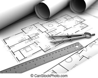3d illustration of house plan drawing blueprints