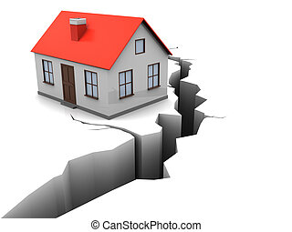earthquake - 3d illustration of house with crack in ground,...