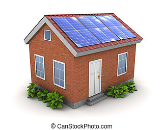 house with solar panel - 3d illustration of house with solar...