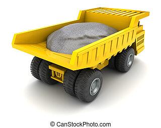 dumper - 3d illustration of huge dumper loaded with stones