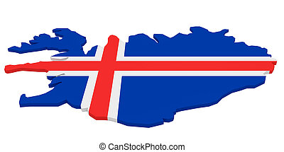 3d Illustration of Iceland Map With Icelandic Flag Isolated On White