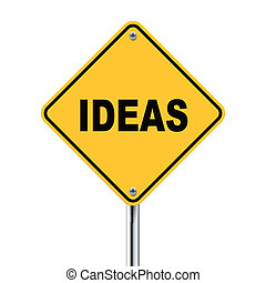 3d illustration of ideas road sign