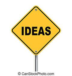 3d illustration of ideas road sign