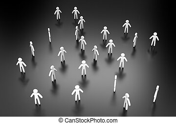 3D illustration of individuals forming a crowd