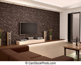 3d illustration of Interior modern home theater in a cozy room