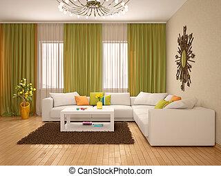 3d illustration of Interior of modern living room warm...