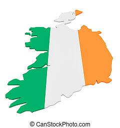 3d Illustration of Ireland Flag Map On White Background