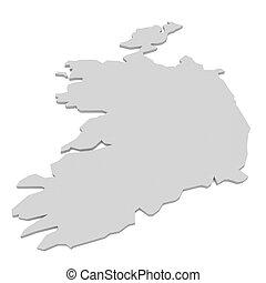 3d Illustration of Ireland Map Isolated On White