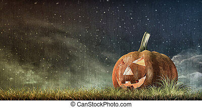jack o lantern - 3d illustration of jack o lantern on green...