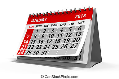 january 2018 calendar - 3d illustration of january 2018...