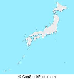3d Illustration of Japan Map On Blue