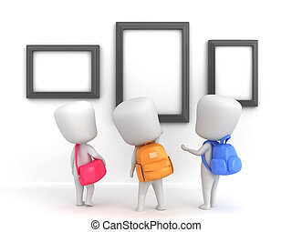 3D Illustration of Kids in an Art Museum looking at Blank Frames