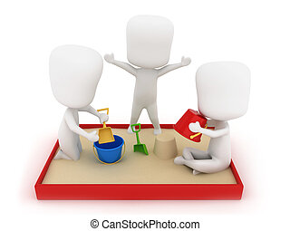 Playing in the Sandbox - 3D Illustration of Kids Playing in...