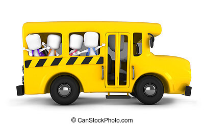 School Bus - 3D Illustration of Kids Waving From the School...