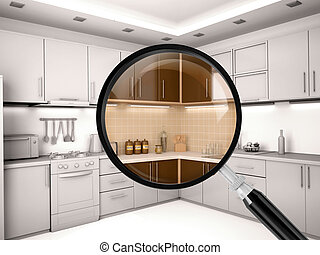 3d illustration of kitchen is through a magnifying glass