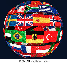 illustration of Knit National flags twisted as spiral globe
