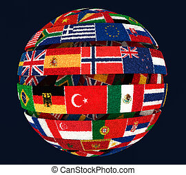 3D illustration of Knit National flags twisted as spiral globe