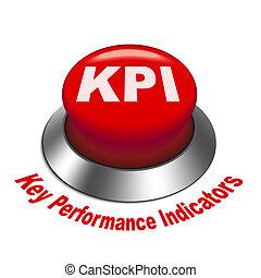 3d illustration of KPI ( Key Performance Indicator ) button isolated white background