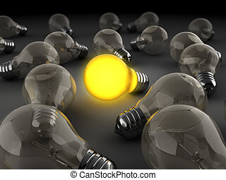 one shining - 3d illustration of light bulbs crowd with one...