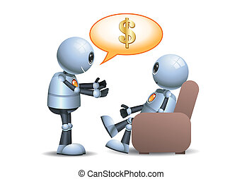 3d illustration of little robot working poor people concept business persuasion