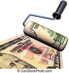 making money - 3D illustration of making money