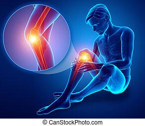 3d Illustration of Male feeling Knee pain