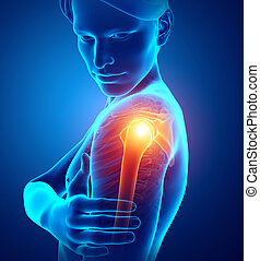 Male Feeling the Shoulder Pain - 3d Illustration of Male...