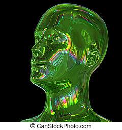 3d illustration of man head stylized metallic green glossy colorful