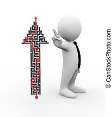 3d illustration of man showing peace, victory, success sign standing with solved maze arrow .  3d rendering of human people character
