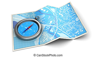 navigation - 3d illustration of map and compass - navigation...