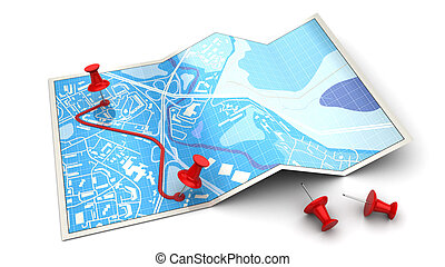 route - 3d illustration of map with pins and red route