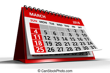 march 2018 calendar - 3d illustration of march 2018 calendar...