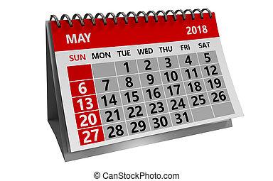 may 2018 calendar - 3d illustration of may 2018 calendar...