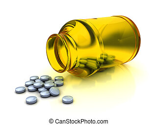 tablets - 3d illustration of medical bottle and tablets,...