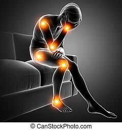 men joint pain - 3d Illustration of men joint pain