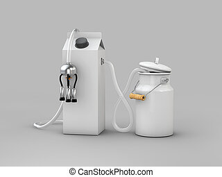 3d Illustration of milk can with milk carton, on gray background